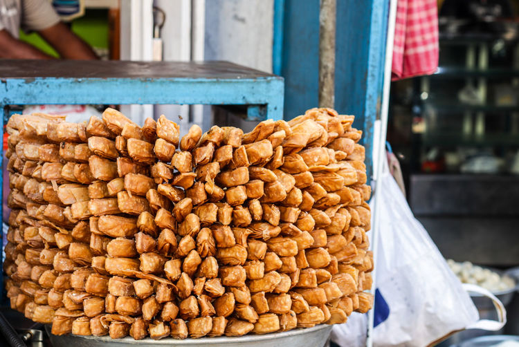 View of bread for sale at market stall