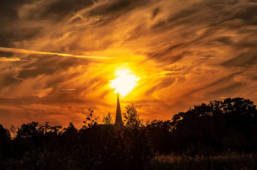 Church Church Tower Kirche Sunset Silhouettes Sunset Silhouette Sunset_collection Werne A.d. Lippe Beauty In Nature Churchtower Cloud - Sky Clowds Dramatic Sky Idyllic Kirchturm Nature No People Orange Color Silhouette Sky Sun Silhouette Sundown Sunlight Sunset Sunsets Tranquility