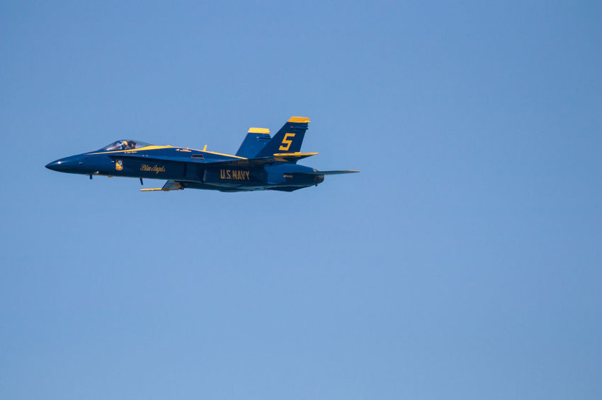 Navy Blue Angels Air Vehicle Airplane Blue Clear Sky Copy Space Day Fighter Plane Flying Low Angle View Mid-air Military Mode Of Transportation Motion Nature No People on the move Outdoors Plane Sky Transportation