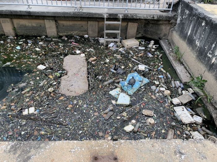 High angle view of garbage in water