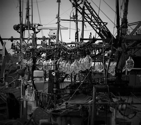 Hokkaido Japan せたな町 漁船 漁船の灯り 集魚灯 モノクロ モノクローム Monochrome Monochrome _ Collection EyeEm Eyeem Monochrome Eyeem Bw