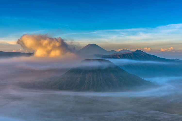 Active Volcano Beauty In Nature Cloud - Sky Geology Idyllic Land Mountain Mountain Peak Nature No People Non-urban Scene Outdoors Physical Geography Power In Nature Scenics - Nature Sky Smoke - Physical Structure Tranquil Scene Tranquility Travel Travel Destinations Volcanic Crater Volcano