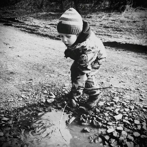 Joshua plays with water
