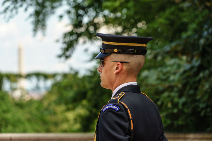Arlington  Arlington National Cemetary Arlington National Cemetery Camera - Photographic Equipment Cap Casual Clothing Close-up D.C. Day Focus On Foreground Hat Headshot Honor Guard Honour Guard Leisure Activity Lifestyles Outdoors Photographing Photography Themes Tomb Of The Unknown Soldier Tree Unknown Soldiers USA Virginia Washington