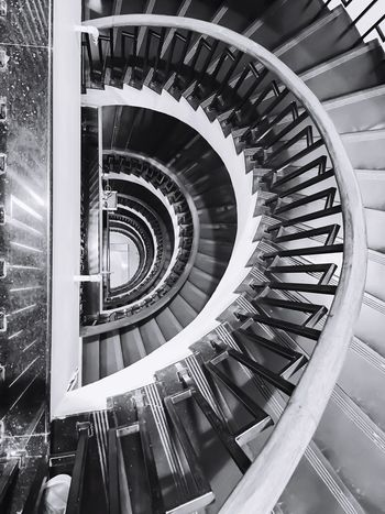 Monochrome Photography Spiral Spiral Staircase Steps And Staircases Steps Architecture Built Structure High Angle View Staircase Railing Indoors  Design Repetition Building Story Coil No People Diminishing Perspective Architectural Feature