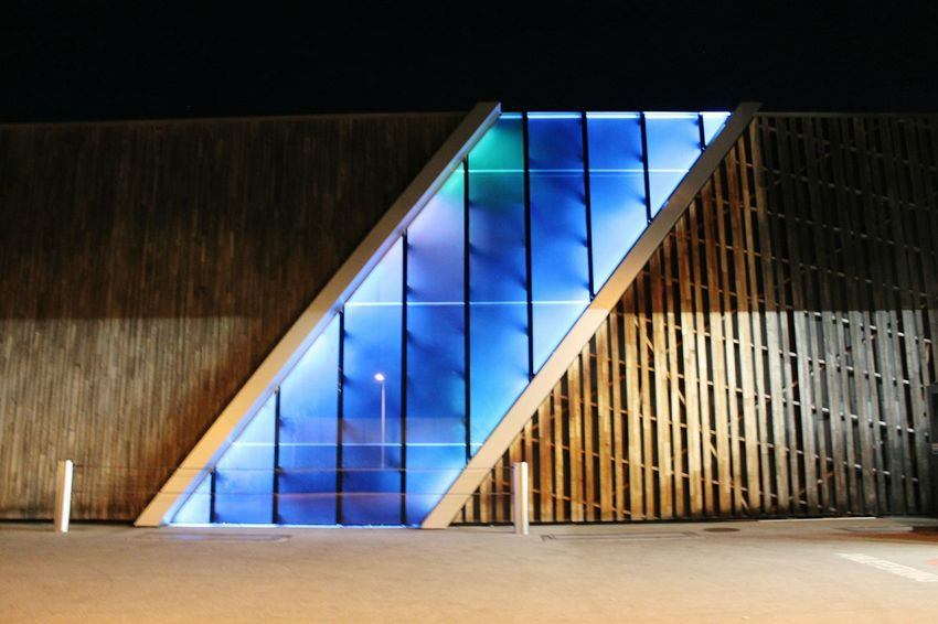 Architecture Illuminated Nightphotography HJB Light In The Darkness Modern Emotion Blue Wood - Material Wood Westside Bern, Switzerland Night View Architectural Detail Architecture_collection No People Reflection Materials Building Lights Lines Darkness And Light Straight Lines Straight Line EyeEmNewHere