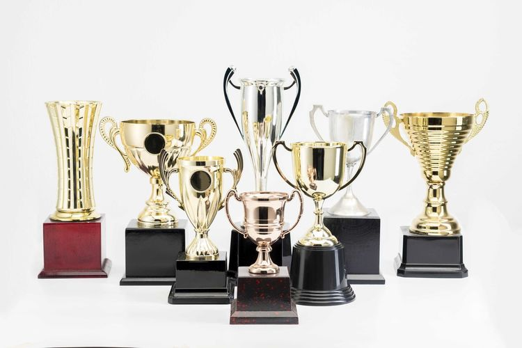 Variety of Trophy Cup on white background Trophy AWARD Success Achievement Winning Indoors  Studio Shot Still Life Metal No People Shiny White Background Variation Choice Competition Gold Colored Side By Side Large Group Of Objects Group Of Objects Pride Silver Colored