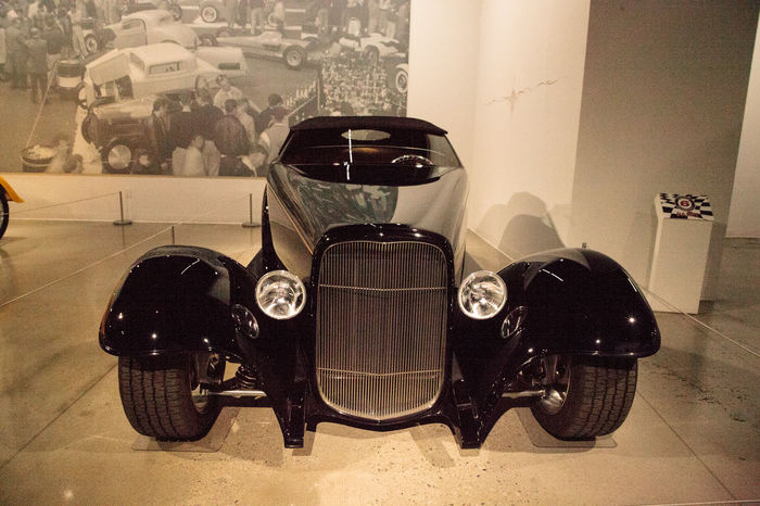 Los Angeles, CA, USA - July 23, 2017: Black 1932 Ford Roadster 0032 displayed at the Petersen Automotive Museum. Editorial use. 0032 1932 Antique Classic Car Fast Car Ford HotRod Lowrider Petersen Automotive Museum Roadster Day Hot Rod Indoors  Land Vehicle No People Race Car Sports Car Transportation