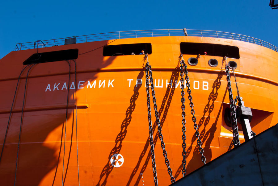 "The launch of the research vessel ""Akademik Tryoshnikov"" at the St.Petersburg Admiralty Shipyard, March 29, 2011 Blue Launch Of The Vessel Metal Orange Outdoors Research Vessel Ship Ship Construction Shipyard Shipyard Crane Shipyardlife Sky Snow Sunny Vessel Winter"
