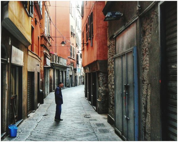 Early Morning One Person Dad Building Exterior Men People Only Men Outdoors Day Adults Only Full Length Adult Architecture One Man Only Built Structure Centro Storico Di Genova Hystorical Centre Narrow Street Alley Vicoli Di Genova Sottoripa Genova Centro Storico