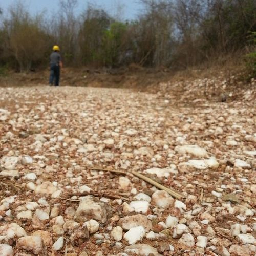 แม้เส้นทางวันนี้ทั้งร้อนและชันแต่ก็ยังได้เพลิดเพลินใจกับหินอ่อนสีขาวที่โรยอยู่ตลอดทางด้วย ธรรมชาติสร้างสรรค์ Work Marble