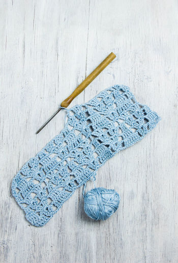 High angle view of crochet pattern