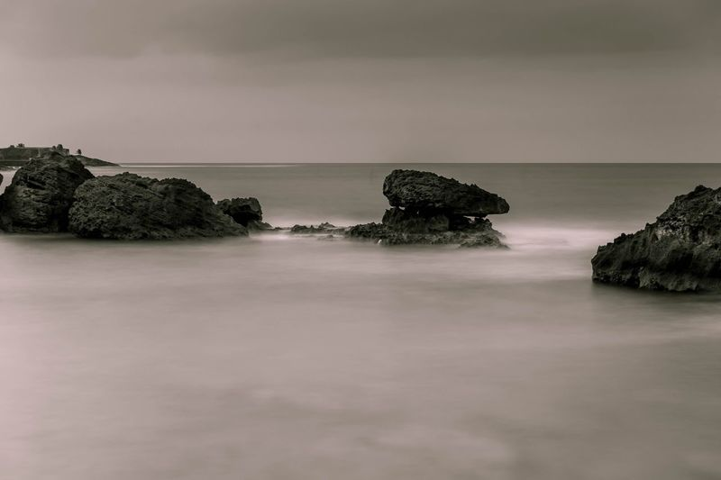ND Filter Rocks Sky Sea Water Tranquil Scene Tree Tranquility Scenics - Nature Beauty In Nature No People Horizon Over Water Beach