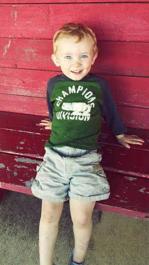 First Eyeem Photo Natty Red Bench Redhead Ginger Blue Eyes Cheesing Toddler  Family
