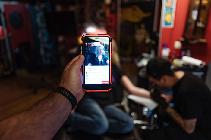 Camera - Photographic Equipment City Life Close-up Colitis Crohns Crohnsdisease Cropped Focus On Foreground Holding Illuminated Leisure Activity Lifestyles Mobile Phone Part Of Personal Perspective Photographing Photography Themes Selective Focus Smart Phone Tattoing Unrecognizable Person Worldibdday The Photojournalist - 2016 EyeEm Awards