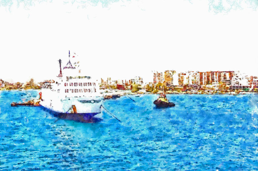 With the ship coming from Italy, I see Valona and the harbor pier from the sea EyeEm Best Shots Architecture Art Boats Building Exterior Built Structure City Cityscape Clear Sky Digital Art Digital Painting Mode Of Transport Nautical Vessel Outdoors Port Sea Ship Sky Transportation Urban Skyline Water Watercolor Watercolor Painting Waterfront