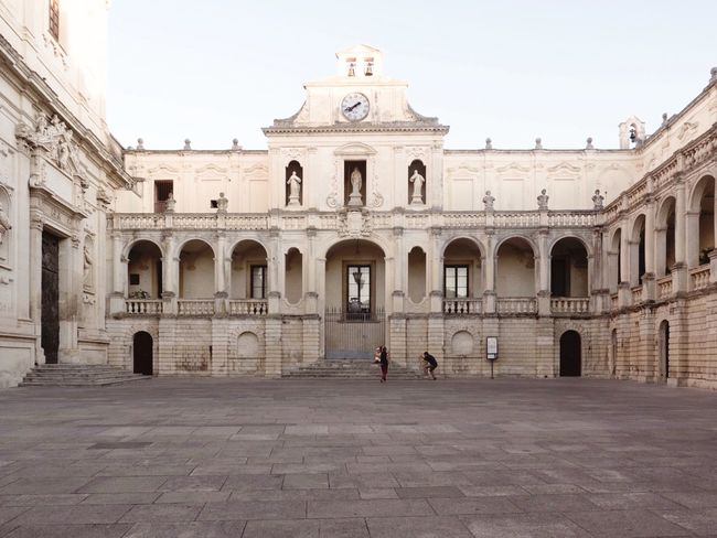 Arch Architecture History Building Exterior Built Structure Outdoors Place Of Worship Day Real People Men Clear Sky One Person Sky People Lecce Salento, Italy