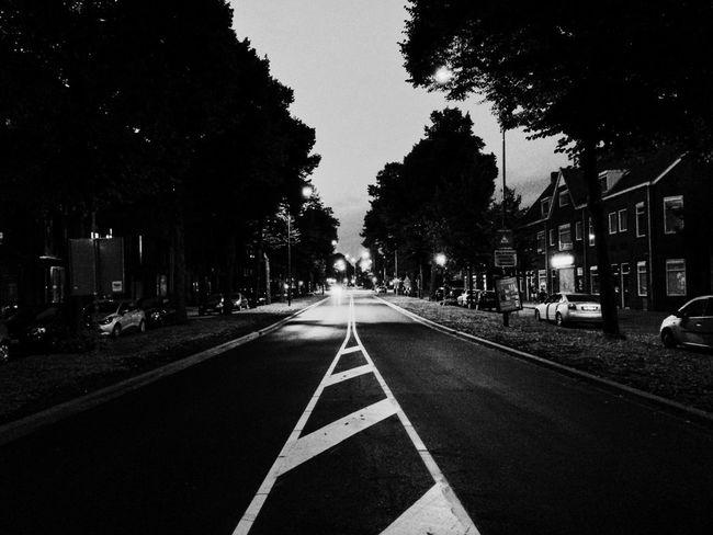 Road Road Marking No Traffic Empty Streets Nightphotography Night Lights Night View Night Photography City Lights City City Life Den Bosch The Netherlands Blackandwhite Black & White Bnw
