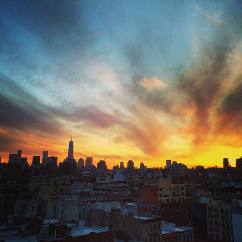 NYC at sunset Architecture City Cityscape Cloud Cloud - Sky Light New York City Outdoors Sky Sunset Urban