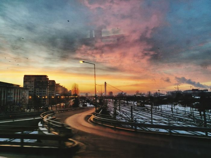 Window to Heaven Bucharest Tram Trip Shades Of Winter Morning Glory EyeEm Selects Sunset Cloud - Sky Sky No People Architecture City Night Outdoors