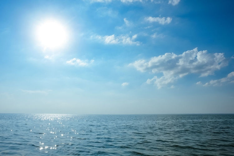 Beauty In Nature Blue Cloud - Sky Day Horizon Horizon Over Water Idyllic Nature No People Outdoors Scenics - Nature Sea Seascape Sky Sun Sunlight Tranquil Scene Tranquility Water