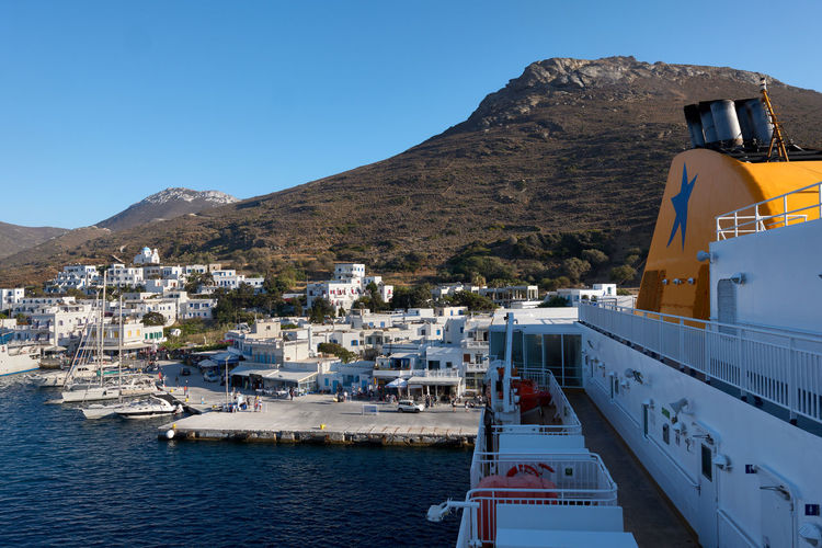 Amorgos Ferry Amorgos Architecture Boat Building Building Exterior Built Structure City Clear Sky Cruise Ship Day Greece Katapola Mode Of Transportation Mountain Nature Nautical Vessel No People Outdoors Residential District Sea Sky TOWNSCAPE Transportation Travel Water Waterfront
