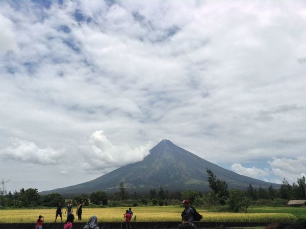 Active Adult Adventure Beauty In Nature Cloud - Sky Cone Day Grass Landscape Large Group Of People Leisure Activity Lifestyles Mayon Volcano Philippines Men Mountain Nature Outdoors People Perfect Real People Rear View Scenics Sky Tree Women