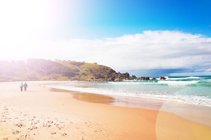 Old couple walking in the beach. Beach Sand Sea Water Blue Summer Vacations Nature Beauty In Nature Sky Day Cloud - Sky Travel Destinations Outdoors Beauty Horizon Over Water New South Wales  Australia Port Macquarie Old People Couple Love Sunny