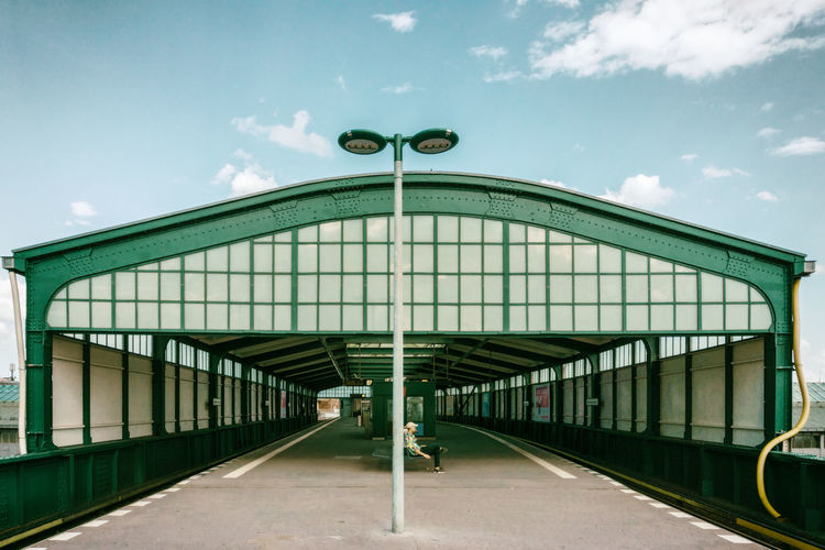 Elevated train station hall 'Gleisdreieck' Berlin Germany 🇩🇪 Deutschland One Person Only Architecture Built Structure City Cloud - Sky Color Image Day Outdoors Parking Garage Railroad Station Platform Sky Time Transportation