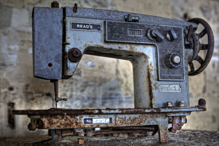 Needles Sewing Machine Abandoned Close-up Day Machinery Metal No People Old Old-fashioned Outdoors Rusty Text Weathered