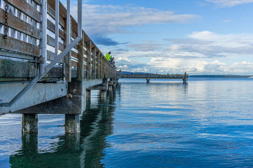 Fishing on the pier at Dash Point, Washington. Pier Architecture Building Exterior Built Structure Cloud - Sky Connection Dash Point Day Marine Nature No People Outdoors Reflection Scenics - Nature Sea Sky Water Waterfront