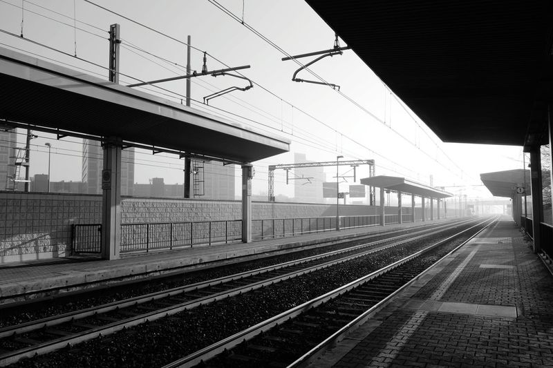 The Architect - 2018 EyeEm Awards Railroad Track Rail Transportation No People Cold Temperature City Milano Milan,Italy Railroad Station Platform Black And White Kenopsia Black And White Friday