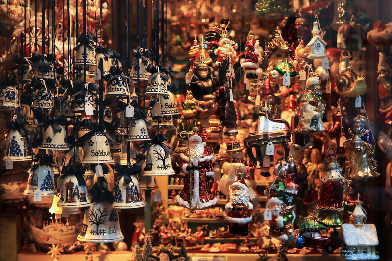 Christmas decorations for sale at market stall