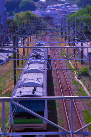 Day High Angle View No People Outdoors Public Transportation Rail Transportation Railroad Track Railway Train Train - Vehicle Transportation Yokohama Line