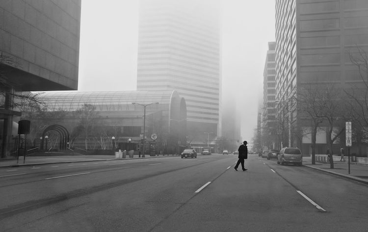 Rushing Towards in a Sea of Concrete! Rush Hour Blackandwhite Photography City Life Fog One Man Only People Survival Work Ethic