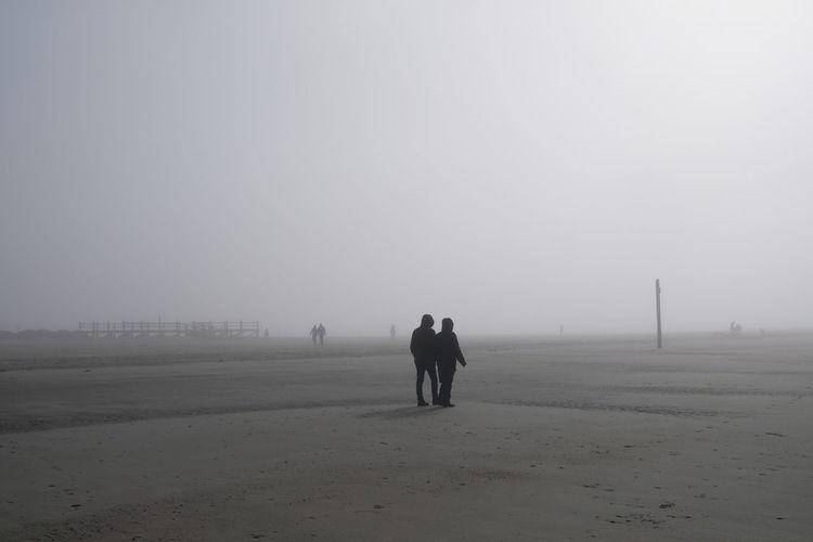 Rear view of men walking on land