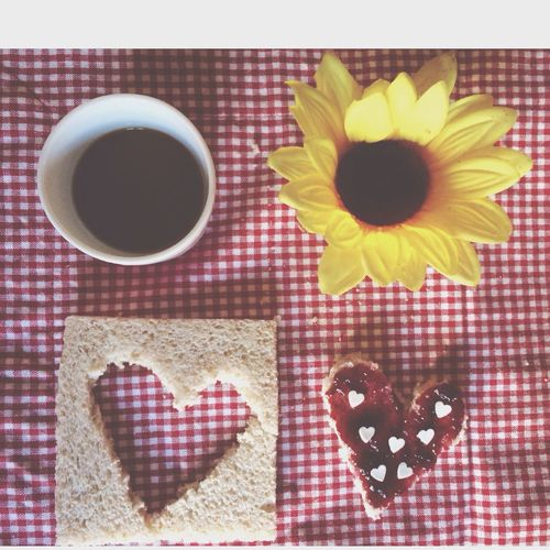 Breakfast with Coffee Sunflower and Heartbread