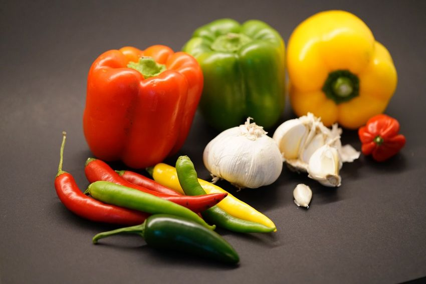 Vegetable Food Food And Drink Still Life Healthy Eating Bell Pepper Variation Garlic Red Bell Pepper Freshness Spice No People Tomato Choice Close-up Indoors  Day