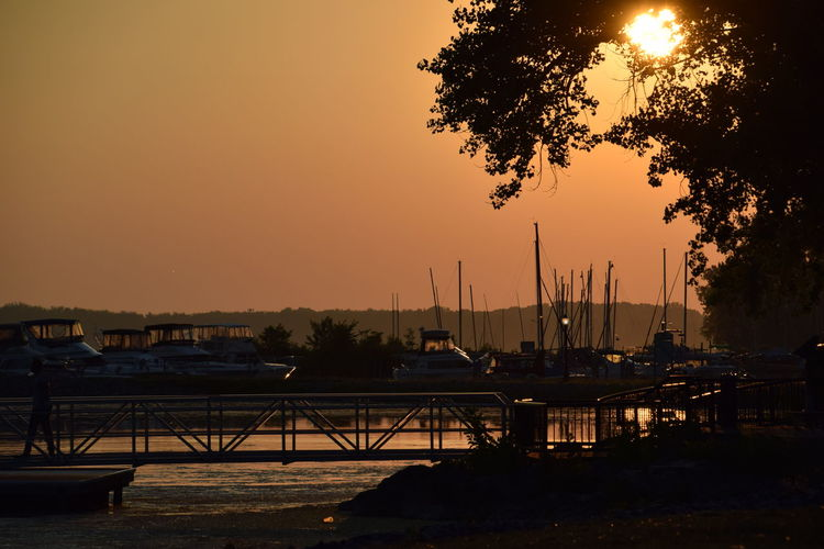 Silhouette of harbor at sunset