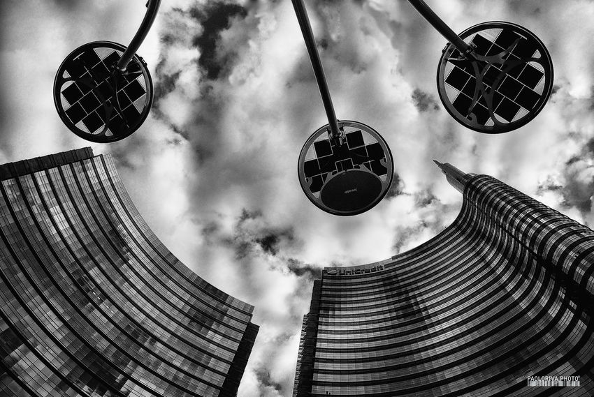 Architecture Built Structure Circle Circular Cloud Cloud - Sky Day Directly Below Gai Aulenti Place Geometric Shape Global Communications Low Angle View Modern Monochrome Monochrome Photography Office Building Outdoors Round Sky Tall - High