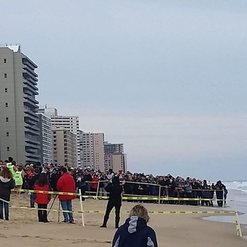 Thousands watching from beach and balconies waiting for the first brave souls to hit the waters... Oceancitycool OceanCity Maryland Ocmd Penguinswim Penguinswim2016