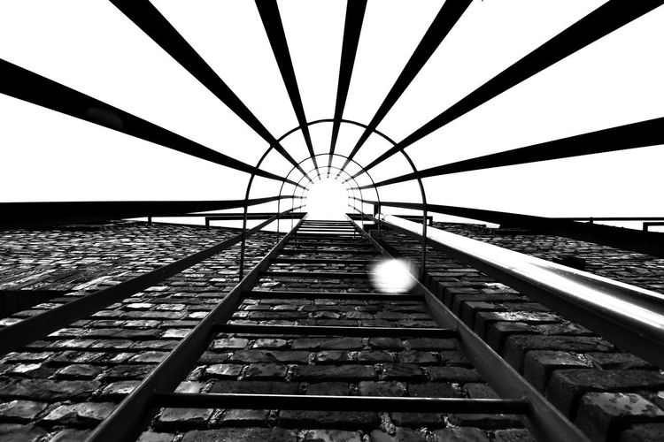 Directly below shot of railroad tracks against clear sky