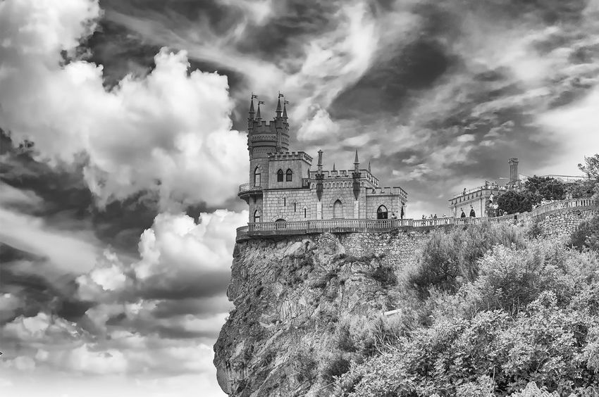 Swallow's nest, scenic castle and iconic landmark over the Black Sea in Yalta, Crimea Architecture Belief Building Building Exterior Built Structure Cloud - Sky Day Gothic Style History Nature No People Outdoors Place Of Worship Religion Sky Spire  Spirituality The Past Tourism Tower Travel Travel Destinations