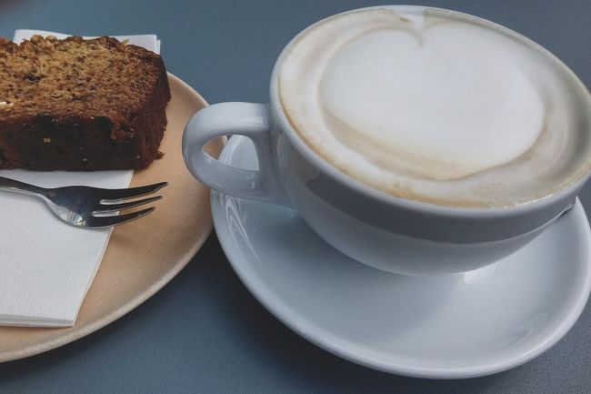 Coffee and cake Froth Art Frothy Drink Drink Latte Coffee - Drink Saucer