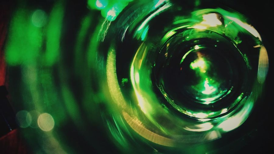 Green Color Close-up Glass Glass Reflection Bottle