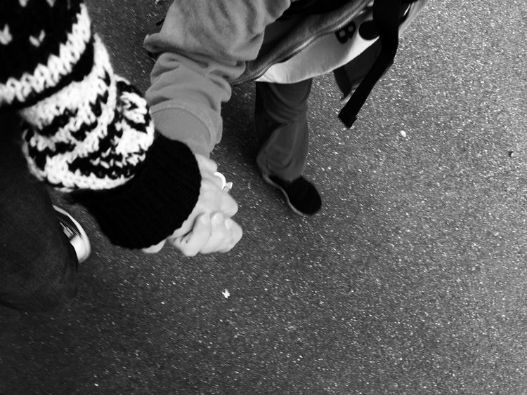Holding Hands Walking Negative Space Emotions Blackandwhite Togetherness Mother And Son Closeness Love Copy Space