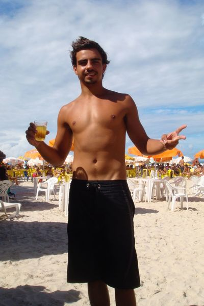 COSTA CONCORDIA CRUISE BRASIL Balance Carefree Casual Clothing Childhood Enjoyment Front View Full Length Fun Leisure Activity Lifestyles Person Portrait Real People Shirtless Standing Summer Three Quarter Length Young Adult Young Men