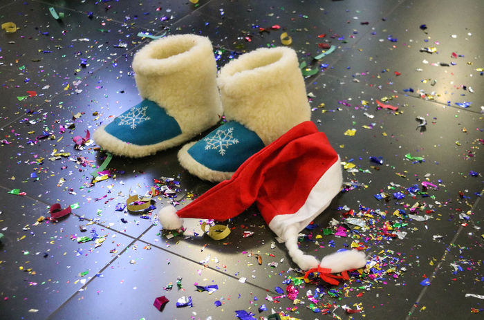 after the holiday Celebration Child Childhood Christmas Confetti Confetti Everywhere! Fantasy Full Length Holiday Is Over Indoors  Multi Colored New Year New Year Around The World Slippers