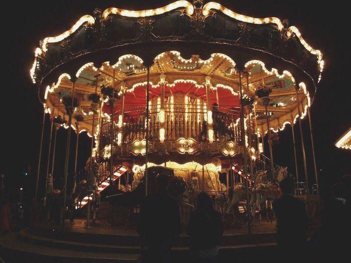 Carousel Carousel Horse Merrygoround Lights Light And Shadow Wheel Night Nightphotography Paris in Paris, France