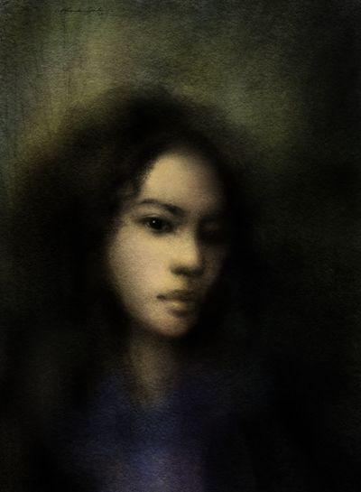 Blue dress, watercolor wash, softpastels, contè, drawing Portrait Drawing ArtWork Artist Art, Drawing, Creativity Blackdrawing Portrait Of A Friend Art Mixedmedia